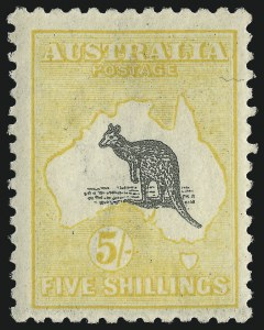 Sale Number 1081, Lot Number 3109, Third Watermark Issue 5sh Gray and Pale Yellow (BW 44D), 5sh Gray and Pale Yellow (BW 44D)