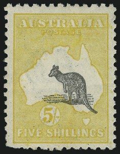 Sale Number 1081, Lot Number 3111, Third Watermark Issue 5sh Gray Black and Chrome, Misplaced (Downward) Kangaroo (similar to BW 44ca), 5sh Gray Black and Chrome, Misplaced (Downward) Kangaroo (similar to BW 44ca)