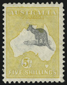 Sale Number 1081, Lot Number 3112, Third Watermark Issue 5sh Gray Black and Chrome, Misplaced (Upward) Kangaroo (similar to BW 44ca), 5sh Gray Black and Chrome, Misplaced (Upward) Kangaroo (similar to BW 44ca)