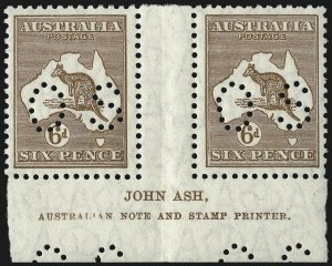 "Sale Number 1081, Lot Number 3122, Small Multiple Watermark Issue6p Chestnut, Small ""OS"" (BW 22b/za), 6p Chestnut, Small ""OS"" (BW 22b/za)"