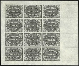 Sale Number 1082, Lot Number 313, Postmasters ProvisionalsProvidence, Rhode Island, 5c & 10c Gray Black, Bogert & Durbin Second Reprint Sheet of Twelve (10X1-10X2R), Providence, Rhode Island, 5c & 10c Gray Black, Bogert & Durbin Second Reprint Sheet of Twelve (10X1-10X2R)