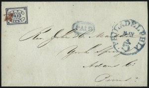 Sale Number 1082, Lot Number 523, Carriers and Locals thru RevenuesU.S.P.O., Philadelphia Pa., 1c Blue (7LB12), U.S.P.O., Philadelphia Pa., 1c Blue (7LB12)