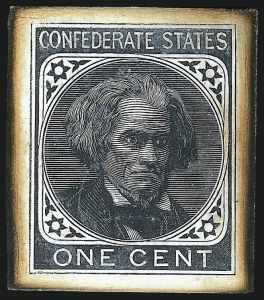 Sale Number 1082, Lot Number 600, Confederate States: Essays and Proofs, General Issues1c Black, Large Die Trial Color Proof on Glazed Card (14TC1d), 1c Black, Large Die Trial Color Proof on Glazed Card (14TC1d)