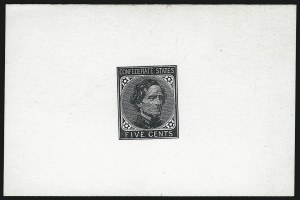 Sale Number 1082, Lot Number 601, Confederate States: Essays and Proofs, General Issues5c Black, De La Rue, Large Die Trial Color Proof on Glazed Card (6TC1d), 5c Black, De La Rue, Large Die Trial Color Proof on Glazed Card (6TC1d)
