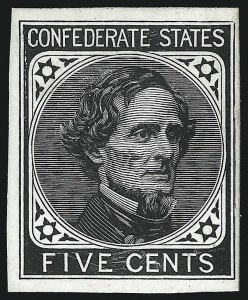 Sale Number 1082, Lot Number 602, Confederate States: Essays and Proofs, General Issues5c Black, De La Rue, Large Die Trial Color Proof on Glazed Card (6TC1d), 5c Black, De La Rue, Large Die Trial Color Proof on Glazed Card (6TC1d)