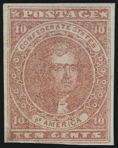Sale Number 1082, Lot Number 606, Confederate States: Essays and Proofs, General Issues10c Deep Rose (5), 10c Deep Rose (5)
