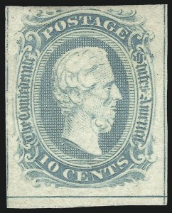 Sale Number 1082, Lot Number 612, Confederate States: Essays and Proofs, General Issues10c Milky Blue, Frameline (10a), 10c Milky Blue, Frameline (10a)