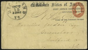 Sale Number 1082, Lot Number 631, Confederate States: Essays and Proofs, General IssuesPost Office Department, Official Business, Chiefs of the Appointment and Contract Bureaus, Post Office Department, Official Business, Chiefs of the Appointment and Contract Bureaus