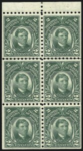Sale Number 1082, Lot Number 669, United States Possessions: PhilippinesPHILIPPINES, 1914, 2c Green, Booklet Pane of Six (276a), PHILIPPINES, 1914, 2c Green, Booklet Pane of Six (276a)