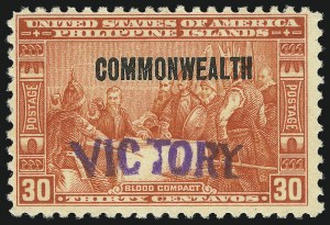 "Sale Number 1082, Lot Number 670, United States Possessions: PhilippinesPHILIPPINES, 1944, 30c Orange Red, ""Victory"" Ovpt. (482), PHILIPPINES, 1944, 30c Orange Red, ""Victory"" Ovpt. (482)"