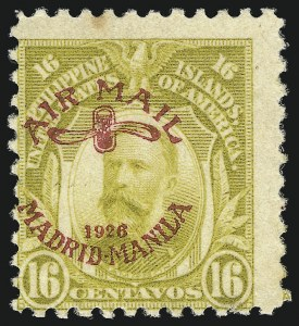Sale Number 1082, Lot Number 673, United States Possessions: PhilippinesPHILIPPINES, 1926, 16c Olive Bister, Air Post (C8), PHILIPPINES, 1926, 16c Olive Bister, Air Post (C8)