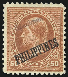 "Sale Number 1082, Lot Number 682, United States Possessions: PhilippinesPHILIPPINES, 1899, 1c-50c ""Specimen"" Ovpts. (213S-219S), PHILIPPINES, 1899, 1c-50c ""Specimen"" Ovpts. (213S-219S)"