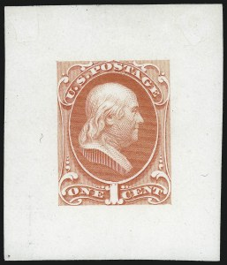 Sale Number 1082, Lot Number 89, Essays and Proofs: 1870-88 Bank Note IssuesNational Bank Note Co., 1c Franklin, Large Die Essays on India and Ivory Glazed (145-E6a, 145-E8b), National Bank Note Co., 1c Franklin, Large Die Essays on India and Ivory Glazed (145-E6a, 145-E8b)