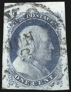 Sale Number 1084, Lot Number 3037, 1c 1851-56 Issue (Scott 5-9)1c Blue, Ty. II (7), 1c Blue, Ty. II (7)