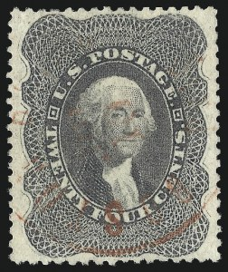 Sale Number 1084, Lot Number 3172, 10c-90c 1857-60 Issue (Scott 31-39)24c Gray Lilac (37), 24c Gray Lilac (37)