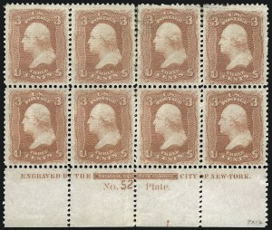 Sale Number 1084, Lot Number 3274, 1867-68 Grilled Issue, cont. (Scott 92-101)3c Red, F. Grill (94), 3c Red, F. Grill (94)