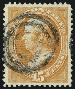 Sale Number 1084, Lot Number 3403, 1870-71 National Bank Note Co. Ungrilled Issue (Scott 145-155)15c Bright Orange (152), 15c Bright Orange (152)