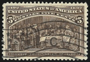 Sale Number 1084, Lot Number 3533, 1893 Columbian Issue (Scott 230-245)5c Columbian (234), 5c Columbian (234)