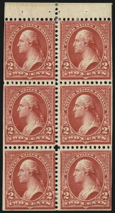 Sale Number 1084, Lot Number 3642, 1897-1903 Change of Colors Bureau Issue (Scott 279-284)2c Red, Ty. IV, Booklet Pane of Six, Horizontal Wmk. (279Bj), 2c Red, Ty. IV, Booklet Pane of Six, Horizontal Wmk. (279Bj)