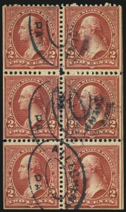 Sale Number 1084, Lot Number 3643, 1897-1903 Change of Colors Bureau Issue (Scott 279-284)2c Red, Ty. IV, Booklet Pane of Six, Horizontal Wmk. (279Bj), 2c Red, Ty. IV, Booklet Pane of Six, Horizontal Wmk. (279Bj)
