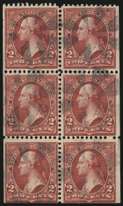 Sale Number 1084, Lot Number 3644, 1897-1903 Change of Colors Bureau Issue (Scott 279-284)2c Red, Ty. IV, Booklet Pane of Six, Horizontal Wmk. (279Bj), 2c Red, Ty. IV, Booklet Pane of Six, Horizontal Wmk. (279Bj)