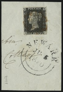 Sale Number 1086, Lot Number 2001, Great BritainGREAT BRITAIN, 1840, 1p Black (1; SG 2), GREAT BRITAIN, 1840, 1p Black (1; SG 2)