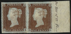 Sale Number 1086, Lot Number 2005, Great BritainGREAT BRITAIN, 1841, 1p Red Brown (3; SG 8), GREAT BRITAIN, 1841, 1p Red Brown (3; SG 8)