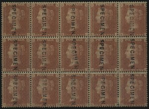 "Sale Number 1086, Lot Number 2007, Great BritainGREAT BRITAIN, 1857, 1p Rose Red, ""Specimen"" Overprint, Type 10 (20S; SG Specialised C10t), GREAT BRITAIN, 1857, 1p Rose Red, ""Specimen"" Overprint, Type 10 (20S; SG Specialised C10t)"