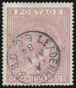 Sale Number 1086, Lot Number 2012, Great BritainGREAT BRITAIN, 1882, 5sh Rose on White Paper (90a; SG 134), GREAT BRITAIN, 1882, 5sh Rose on White Paper (90a; SG 134)