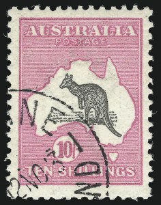 Sale Number 1086, Lot Number 2053, Antigua thru AustraliaAUSTRALIA, 1913, 10sh Pink & Gray (13; SG 14; BW 47w), AUSTRALIA, 1913, 10sh Pink & Gray (13; SG 14; BW 47w)