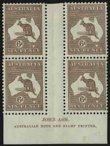 Sale Number 1086, Lot Number 2060, Antigua thru AustraliaAUSTRALIA, 1923, 6p Yellow Brown (49; SG 73; BW 21zf), AUSTRALIA, 1923, 6p Yellow Brown (49; SG 73; BW 21zf)