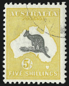 Sale Number 1086, Lot Number 2061, Antigua thru AustraliaAUSTRALIA, 1918, 5sh Yellow & Gray (54; SG 42; BW 44w), AUSTRALIA, 1918, 5sh Yellow & Gray (54; SG 42; BW 44w)