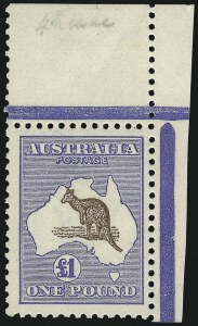 Sale Number 1086, Lot Number 2062, Antigua thru AustraliaAUSTRALIA, 1916, £1 Ultramarine & Brown (56a; SG 44), AUSTRALIA, 1916, £1 Ultramarine & Brown (56a; SG 44)