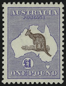 Sale Number 1086, Lot Number 2063, Antigua thru AustraliaAUSTRALIA, 1916, £1 Ultramarine & Brown (56a; SG 44), AUSTRALIA, 1916, £1 Ultramarine & Brown (56a; SG 44)