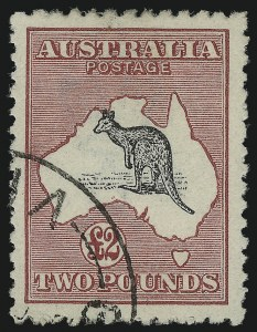 Sale Number 1086, Lot Number 2068, Antigua thru AustraliaAUSTRALIA, 1919, £2 Deep Rose & Black (58; SG 45; BW 56Aw), AUSTRALIA, 1919, £2 Deep Rose & Black (58; SG 45; BW 56Aw)