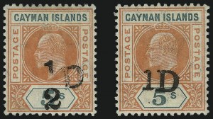 Sale Number 1086, Lot Number 2143, Cape of Good Hope thru Cayman IslandsCAYMAN ISLANDS, 1907, -1/2p and 1p Handstamped Surcharges on 5s Vermilion & Green (18-19; SG 18-19), CAYMAN ISLANDS, 1907, -1/2p and 1p Handstamped Surcharges on 5s Vermilion & Green (18-19; SG 18-19)