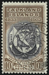 Sale Number 1086, Lot Number 2174, Falkland IslandsFALKLAND ISLANDS, 1933, 10sh Tercentenary (75; SG 137), FALKLAND ISLANDS, 1933, 10sh Tercentenary (75; SG 137)
