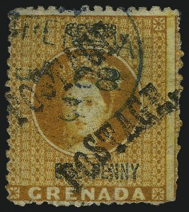 Sale Number 1086, Lot Number 2182, Fiji thru IrelandGRENADA, 1883, -1/2p on Half of 1p Orange & Green, Unsevered Pair (14a; SG 28a), GRENADA, 1883, -1/2p on Half of 1p Orange & Green, Unsevered Pair (14a; SG 28a)