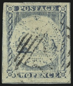Sale Number 1086, Lot Number 2234, New South WalesNEW SOUTH WALES, 1850, 2p Blue, Plate I, Retouched (4; SG 20), NEW SOUTH WALES, 1850, 2p Blue, Plate I, Retouched (4; SG 20)