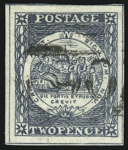 Sale Number 1086, Lot Number 2236, New South WalesNEW SOUTH WALES, 1850, 2p Gray Blue, Plate II, Early Impression (5h; SG 23), NEW SOUTH WALES, 1850, 2p Gray Blue, Plate II, Early Impression (5h; SG 23)