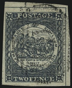 Sale Number 1086, Lot Number 2237, New South WalesNEW SOUTH WALES, 1850, 2p Gray Blue, Plate II, Early Impression (5h; SG 23), NEW SOUTH WALES, 1850, 2p Gray Blue, Plate II, Early Impression (5h; SG 23)