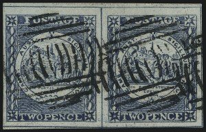 Sale Number 1086, Lot Number 2238, New South WalesNEW SOUTH WALES, 1850, 2p Bright Blue, Plate II, Early Impression (5m; SG 24), NEW SOUTH WALES, 1850, 2p Bright Blue, Plate II, Early Impression (5m; SG 24)