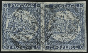 Sale Number 1086, Lot Number 2239, New South WalesNEW SOUTH WALES, 1850, 2p Bright Blue, Plate II, Early Impression (5m; SG 24), NEW SOUTH WALES, 1850, 2p Bright Blue, Plate II, Early Impression (5m; SG 24)