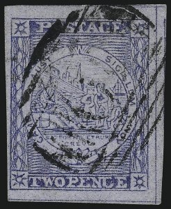 Sale Number 1086, Lot Number 2242, New South WalesNEW SOUTH WALES, 1851, 2p Dull Blue, Plate V (8; SG 37), NEW SOUTH WALES, 1851, 2p Dull Blue, Plate V (8; SG 37)