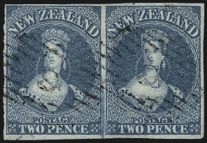 Sale Number 1086, Lot Number 2245, New Zealand thru Northern RhodesiaNEW ZEALAND, 1858, 2p Blue on Blued Paper (2; SG 2), NEW ZEALAND, 1858, 2p Blue on Blued Paper (2; SG 2)