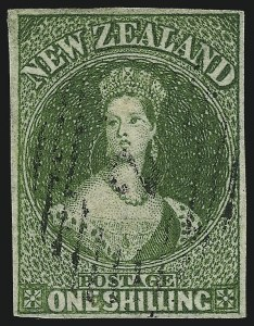 Sale Number 1086, Lot Number 2246, New Zealand thru Northern RhodesiaNEW ZEALAND, 1855, 1sh Yellow Green on Blued Paper (3; SG 3), NEW ZEALAND, 1855, 1sh Yellow Green on Blued Paper (3; SG 3)