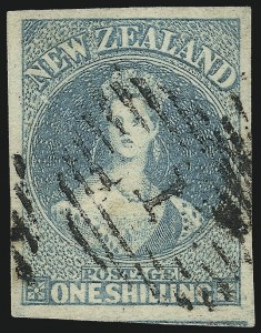 Sale Number 1086, Lot Number 2249, New Zealand thru Northern RhodesiaNEW ZEALAND, 1861, 1sh Blue Green (10; SG 17), NEW ZEALAND, 1861, 1sh Blue Green (10; SG 17)