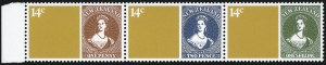 Sale Number 1086, Lot Number 2252, New Zealand thru Northern RhodesiaNEW ZEALAND, 1980, 14c Zeapex se-tenant strip of three, Black Omitted (703b var; SG 1210ab), NEW ZEALAND, 1980, 14c Zeapex se-tenant strip of three, Black Omitted (703b var; SG 1210ab)