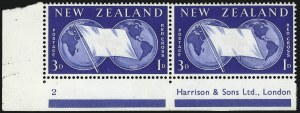 Sale Number 1086, Lot Number 2254, New Zealand thru Northern RhodesiaNEW ZEALAND, 1959, 3p+1p Red Cross, Red Omitted (B56a; SG 375a), NEW ZEALAND, 1959, 3p+1p Red Cross, Red Omitted (B56a; SG 375a)