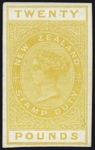 Sale Number 1086, Lot Number 2255, New Zealand thru Northern RhodesiaNEW ZEALAND, 1882, 4p-£20 Postal Fiscal Plate Proofs on Card (AR1/AR30A, etc.), NEW ZEALAND, 1882, 4p-£20 Postal Fiscal Plate Proofs on Card (AR1/AR30A, etc.)
